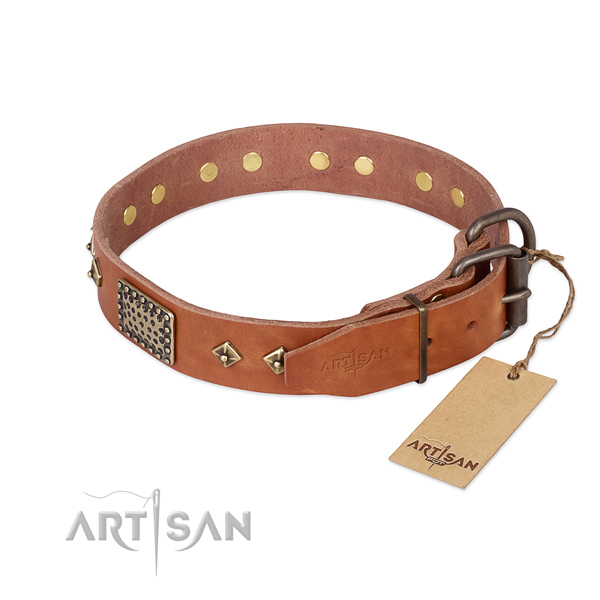 Full grain leather dog collar with corrosion resistant D-ring and studs