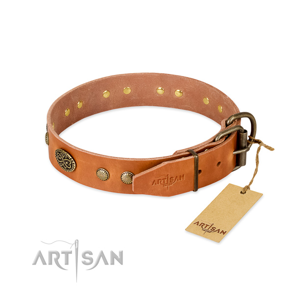 Strong traditional buckle on full grain genuine leather dog collar for your doggie