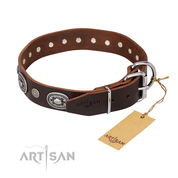 Strong full grain genuine leather dog collar made for easy wearing