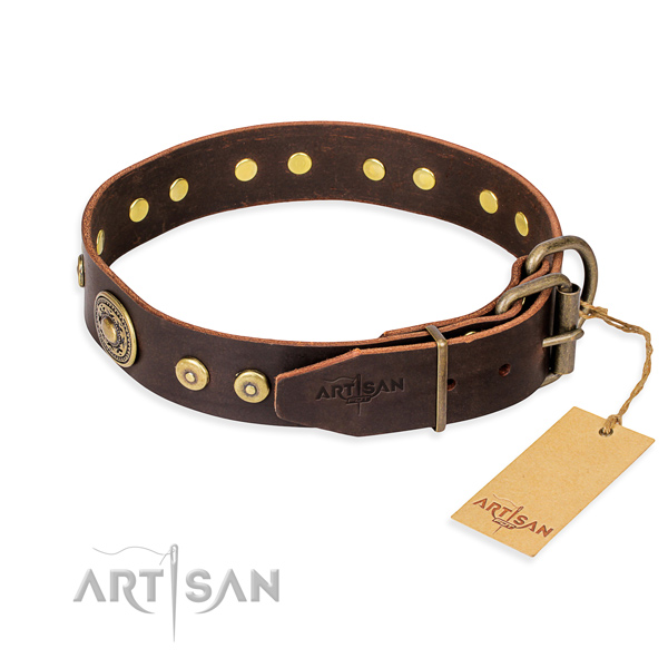 Full grain genuine leather dog collar made of high quality material with corrosion proof adornments