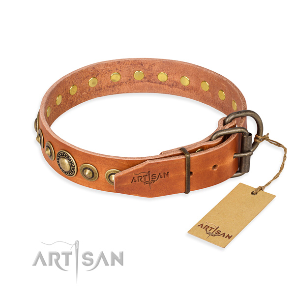 Durable full grain natural leather dog collar handmade for daily walking
