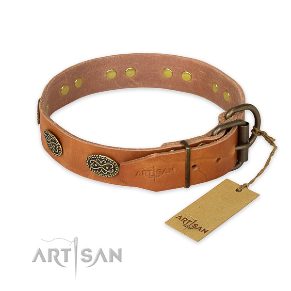 Corrosion proof D-ring on full grain natural leather collar for your beautiful doggie