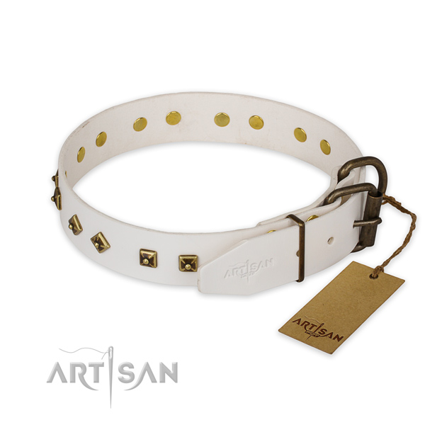 Corrosion resistant D-ring on full grain genuine leather collar for walking your four-legged friend