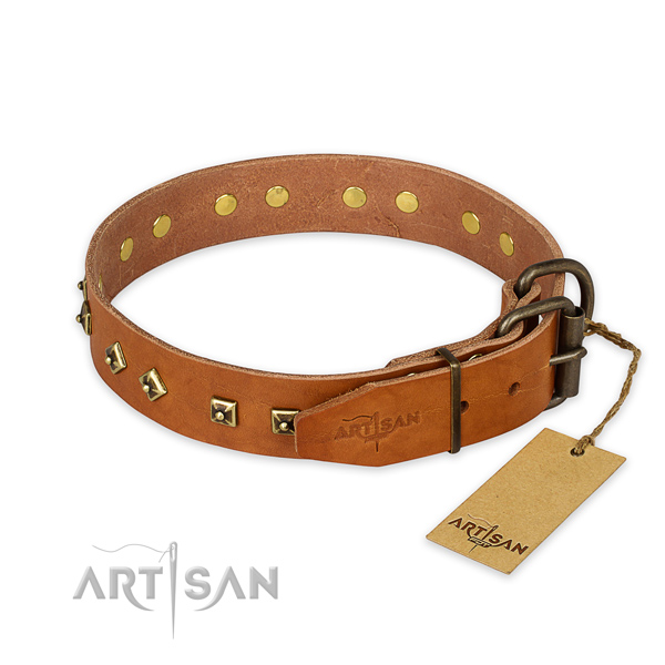 Strong buckle on full grain natural leather collar for fancy walking your four-legged friend