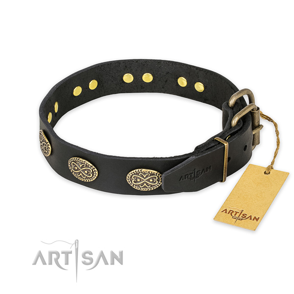 Rust resistant buckle on full grain leather collar for your lovely pet