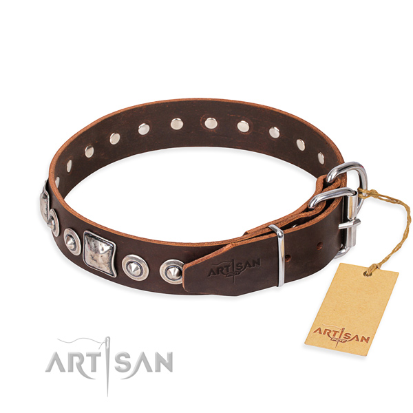 Full grain genuine leather dog collar made of top rate material with strong embellishments