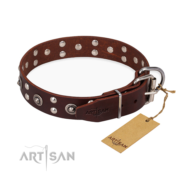 Durable hardware on full grain leather collar for your lovely four-legged friend