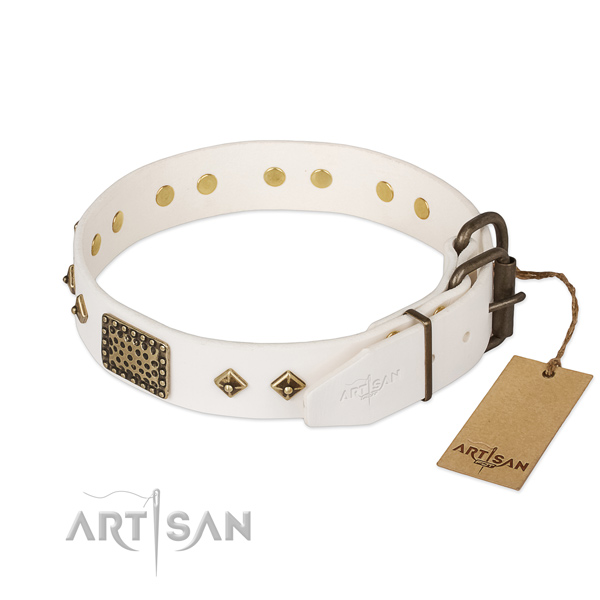 Genuine leather dog collar with rust-proof traditional buckle and embellishments