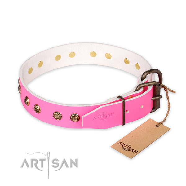 Durable D-ring on full grain natural leather collar for your impressive doggie