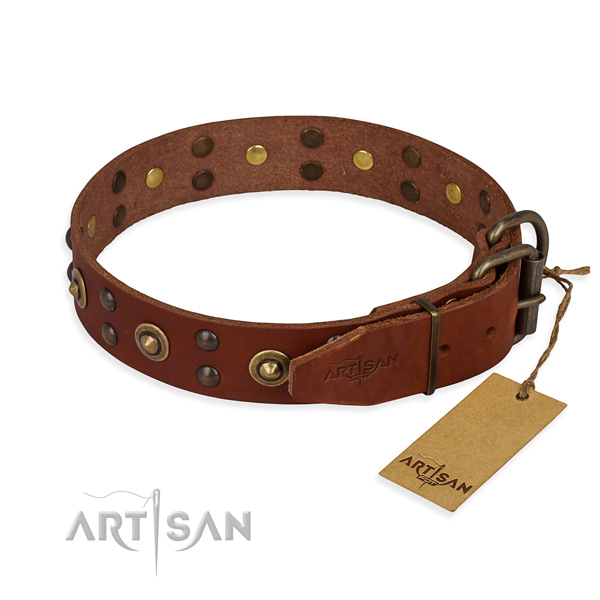 Corrosion proof traditional buckle on genuine leather collar for your impressive pet