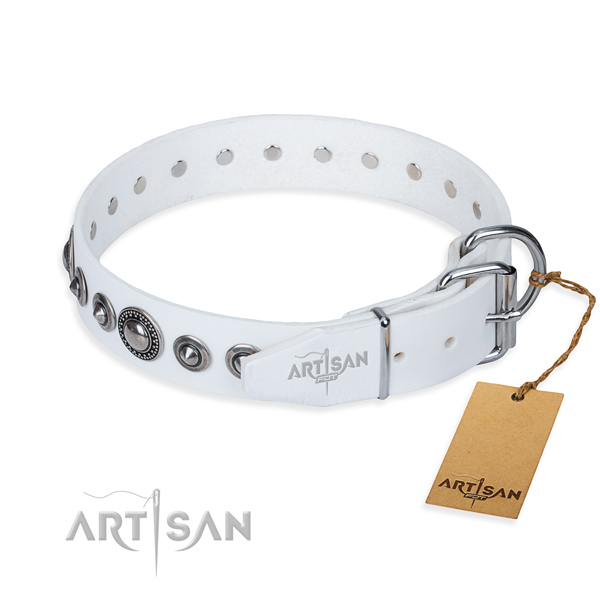 Genuine leather dog collar made of soft to touch material with corrosion resistant studs