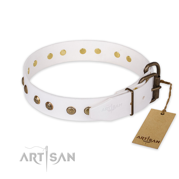Reliable D-ring on natural genuine leather collar for your impressive four-legged friend