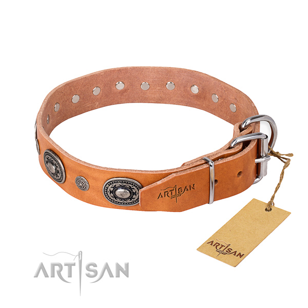 Soft to touch full grain natural leather dog collar handmade for walking