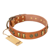 """Natural Beauty"" FDT Artisan Tan Leather Newfoundland Collar with Old Bronze-like Circles and Plates"
