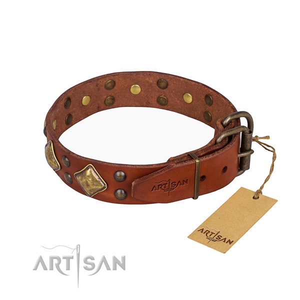 Full grain natural leather dog collar with stunning strong studs
