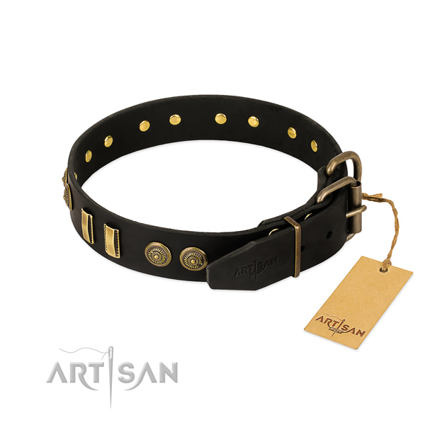 Durable embellishments on genuine leather dog collar for your doggie