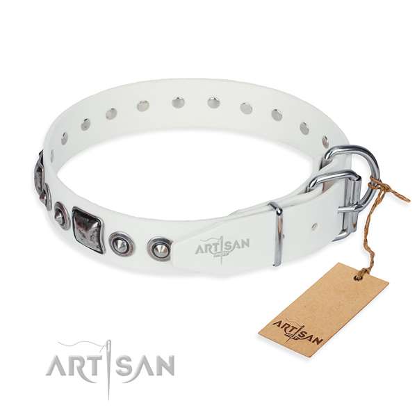 High quality full grain genuine leather dog collar crafted for easy wearing
