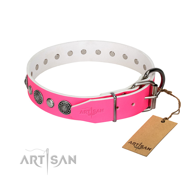 Durable Full grain natural leather dog collar with corrosion resistant fittings