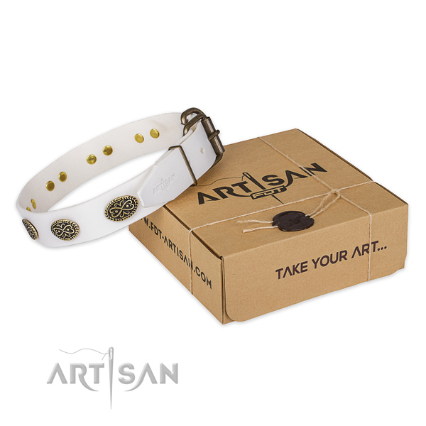 Reliable traditional buckle on full grain natural leather collar for your lovely doggie