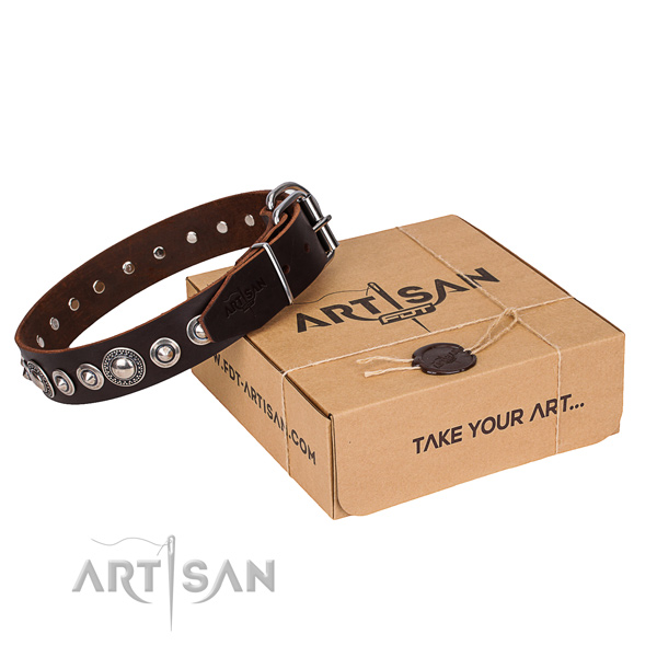Quality full grain natural leather dog collar