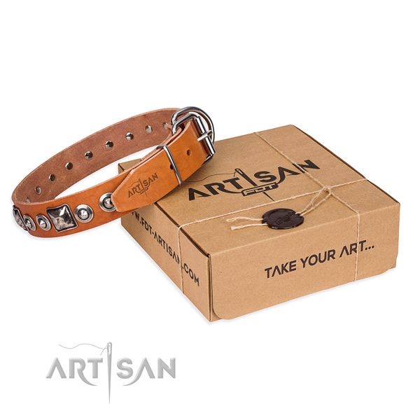 Full grain natural leather dog collar made of quality material with corrosion proof fittings