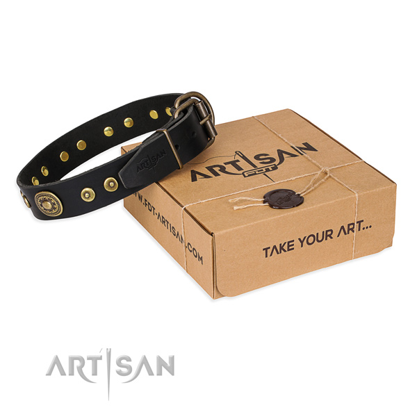 Full grain genuine leather dog collar made of soft to touch material with durable D-ring