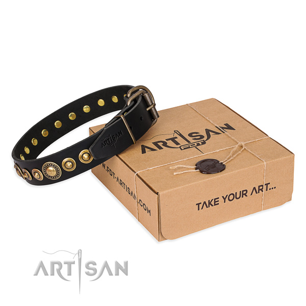 Flexible leather dog collar crafted for easy wearing