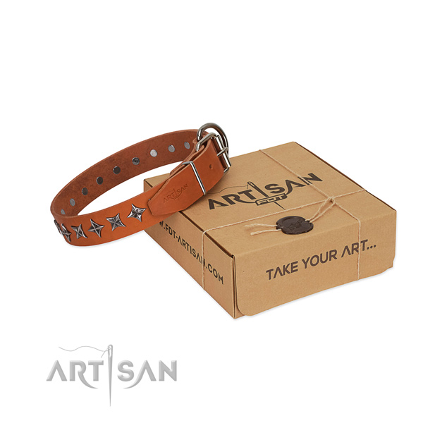 Top quality full grain genuine leather dog collar with fashionable decorations