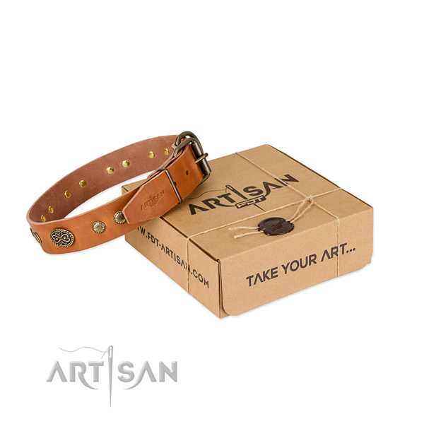 Reliable adornments on genuine leather dog collar for your doggie