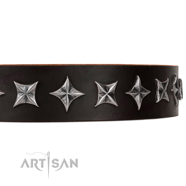 Comfortable wearing decorated dog collar of top quality genuine leather