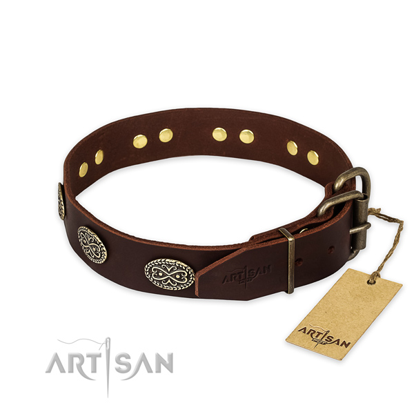 Rust resistant traditional buckle on full grain leather collar for your impressive pet