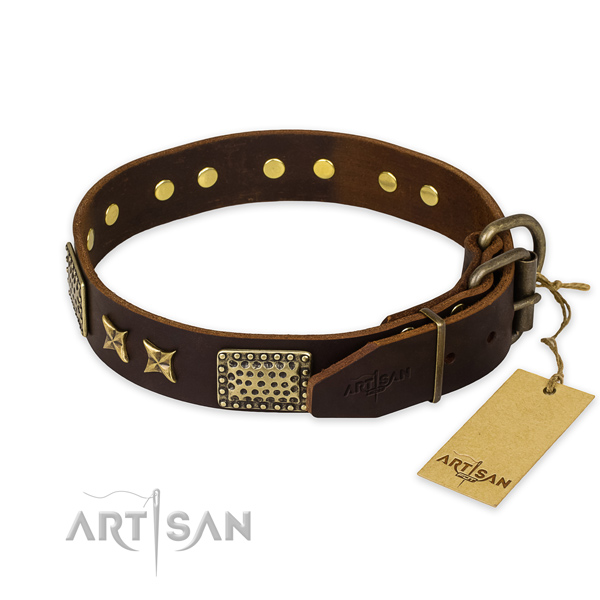 Corrosion resistant hardware on genuine leather collar for your lovely four-legged friend