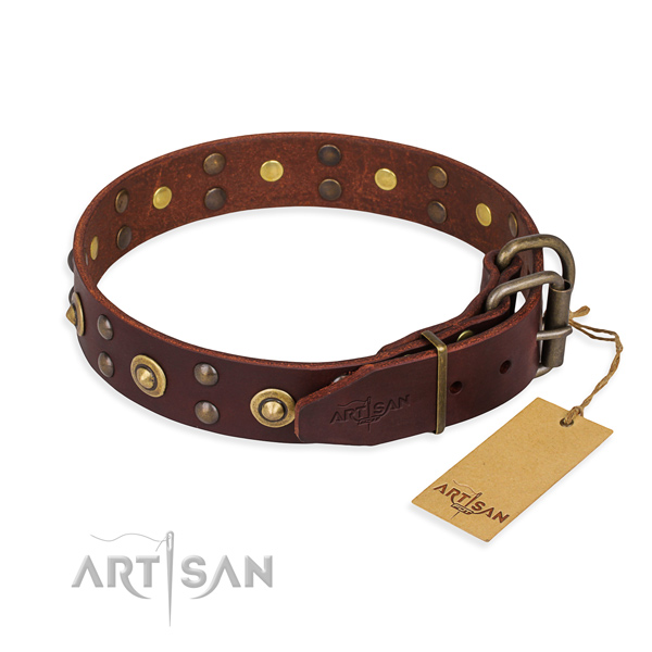 Rust-proof buckle on full grain genuine leather collar for your attractive four-legged friend
