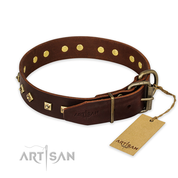 Rust-proof buckle on full grain genuine leather collar for fancy walking your pet