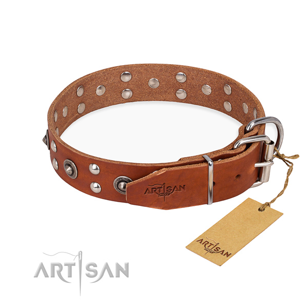Durable hardware on genuine leather collar for your stylish canine