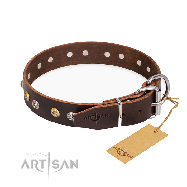 Strong full grain genuine leather dog collar crafted for basic training