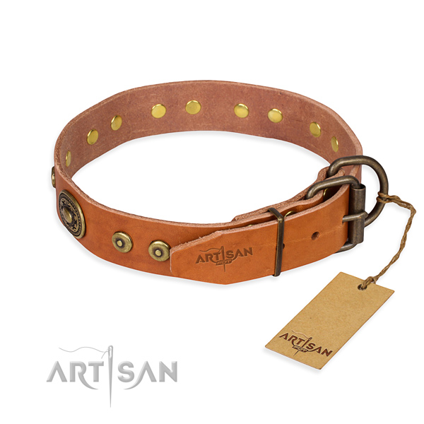 Leather dog collar made of top rate material with corrosion proof studs