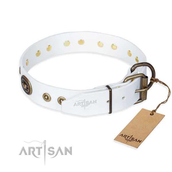Full grain genuine leather dog collar made of top rate material with durable adornments