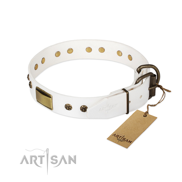 Leather dog collar with corrosion resistant traditional buckle and decorations
