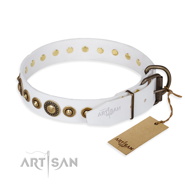 Soft to touch genuine leather dog collar crafted for stylish walking