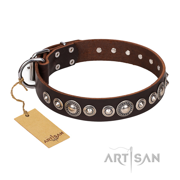 Reliable decorated dog collar of full grain genuine leather