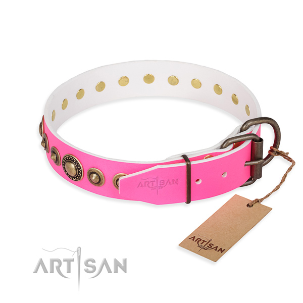 Flexible full grain natural leather dog collar handcrafted for daily walking