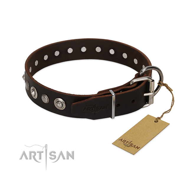 Quality natural leather dog collar with fashionable decorations