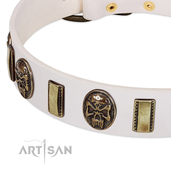 Strong decorations on natural genuine leather dog collar for your doggie