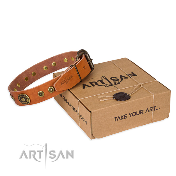 Full grain natural leather dog collar made of quality material with strong buckle