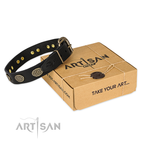 Strong hardware on full grain natural leather collar for your lovely dog
