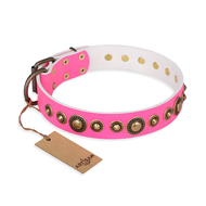 """Pink Gloss"" FDT Artisan Leather Newfoundland Collar with Old-Bronze Plated Circles and Studs"