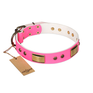 """Pink Daydream"" FDT Artisan Pink Leather Newfoundland Collar with Old Bronze Look Plates and Studs"