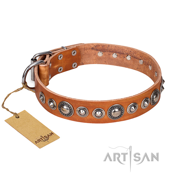 Full grain natural leather dog collar made of best quality material with rust resistant fittings