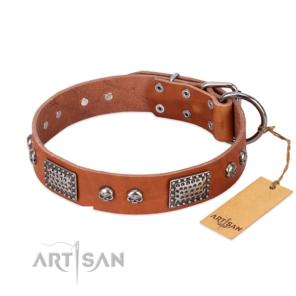 Easy adjustable full grain genuine leather dog collar for basic training your doggie